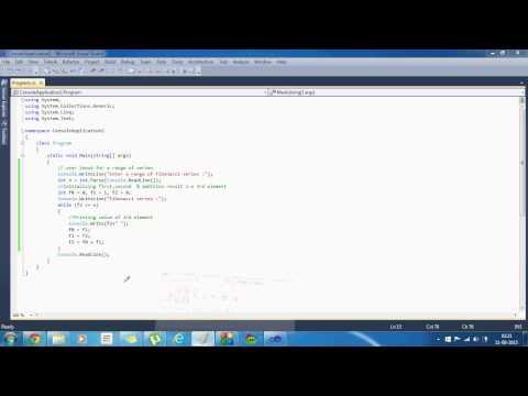 Write a program to generate the fibonacci series