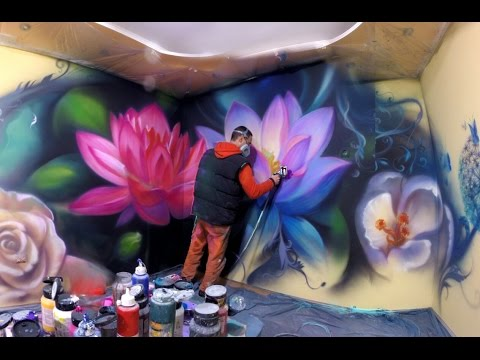Lotus flowers butterflying dandelion airbrush mural for Airbrushed mural