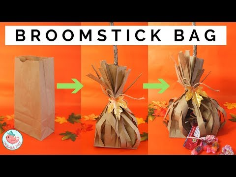 Lunch Bag Crafts - Paper Broomstick Treat Bag - Turn Lunch Bags into Broom Sticks!