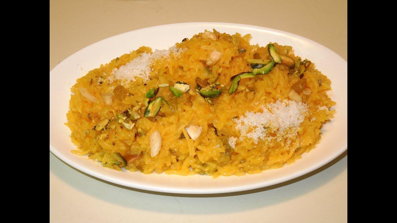 Indian Sweet Rice | MEETHE CHAWAL Recipe | Sweet Saffron ...
