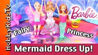 Barbie Doll Mermaid Fairytale Princess Dress Up! Elsa Anna Transform, Frozen By Hobbykidstv #hktv
