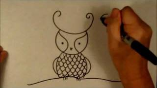 How To Draw A Cartoon Owl Easy Beginner Drawing Tutorial