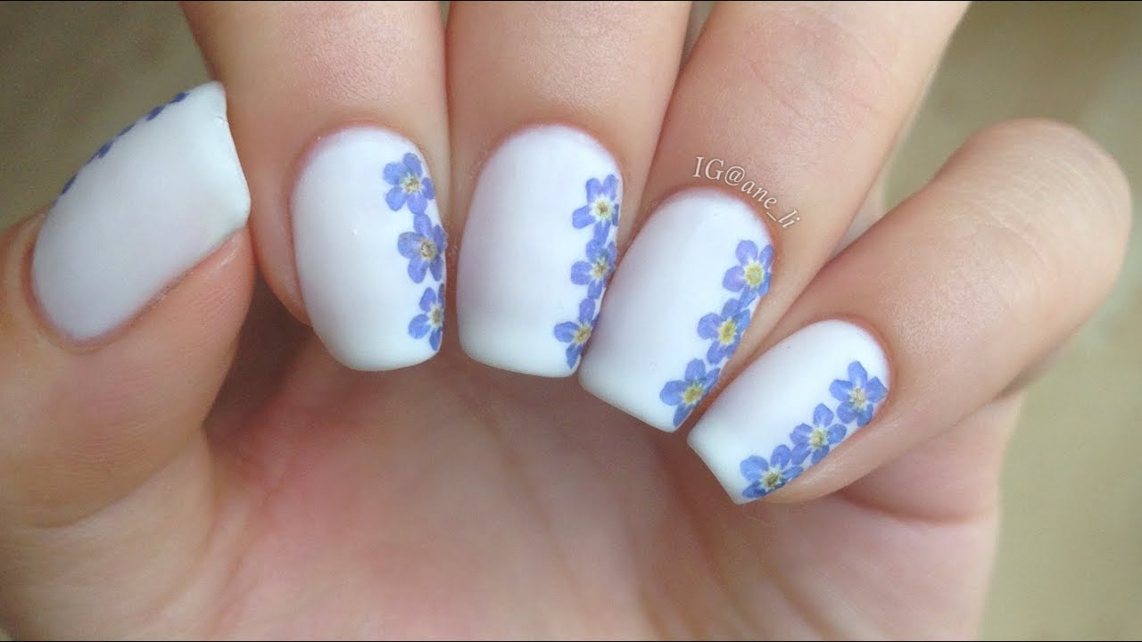 Easy DIY Dried Flower Nail Art - YouTube