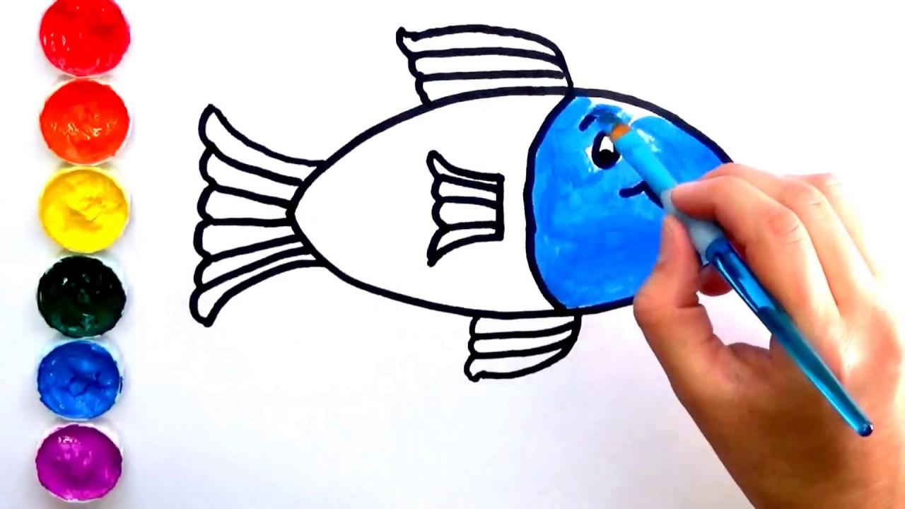 Dibujar y Colorear un Pez   Dibujos para niños  Aprende los colores ...