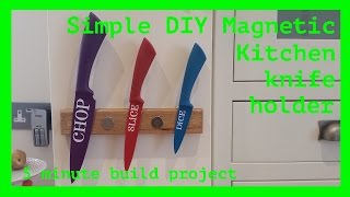 Making A Simple Magnetic Kitchen Knife Holder In Oak From Worktop Offcuts & Scrap