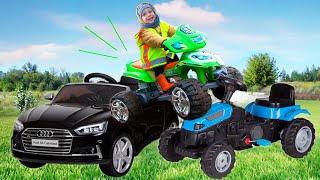 Малыш на крутом mini bike ездит по Машинки как на Monster Truck