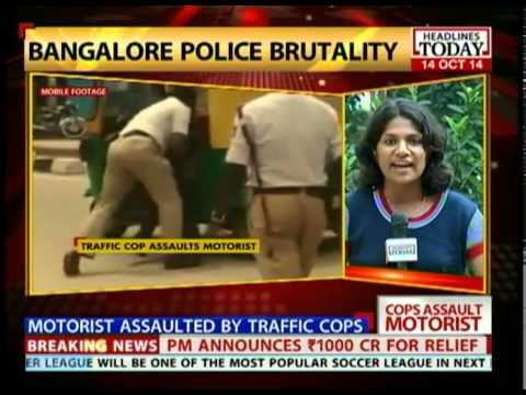 Traffic cop from Bangalore brutally attacks motorist and his sister