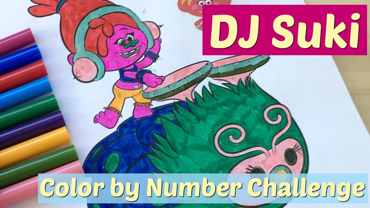 DJ Suki Trolls Coloring Page Color by Number Challenge - YouTube