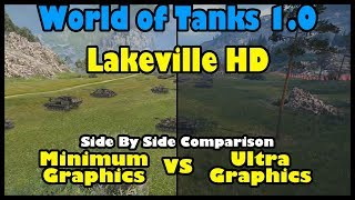 World of Tanks 1.0: Lakeville HD Map Battle | Ultra versus Minimum Graphics Side by Side Comparison