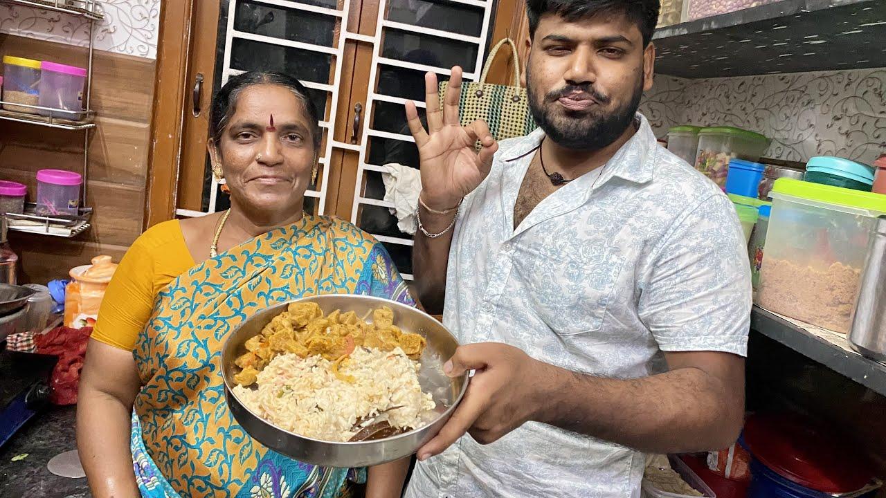 அம்மாவும் தம்பியும் சேர்ந்து செய்த கலாட்டா சமையல் || Veg Pulav - Meal Maker Fry || Amma Kai Pakkuvam