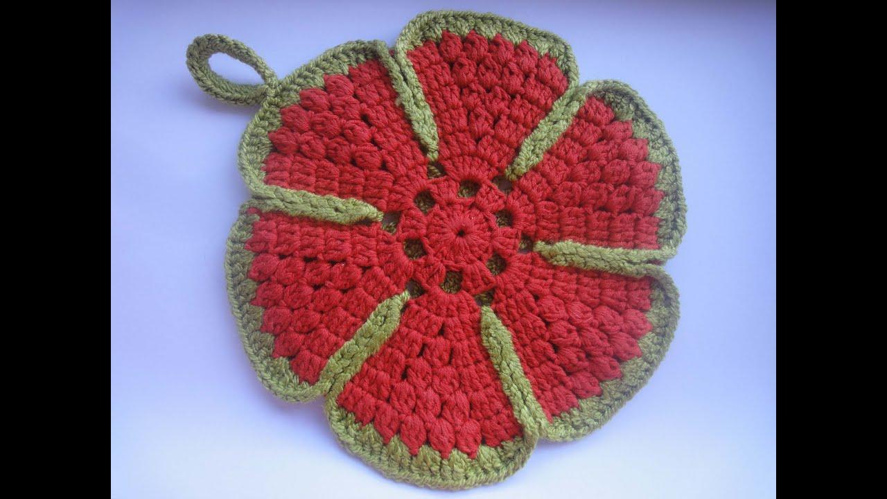 Вязание крючком прихватка с цветком 929