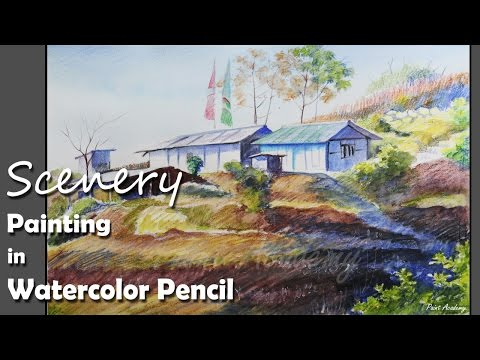 Watercolor Pencil Painting | A Mountain Landscape | Speed Art Drawing
