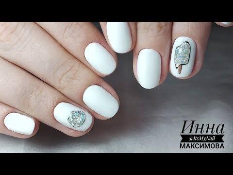 Белые матовые ногти фото