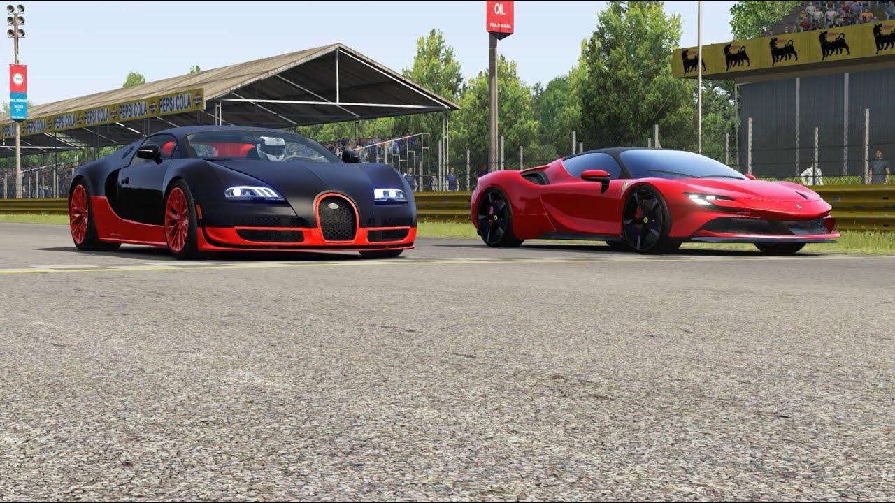 Bugatti Veyron Super Sport 16.4 vs Ferrari SF90 Stradale at Old Spa