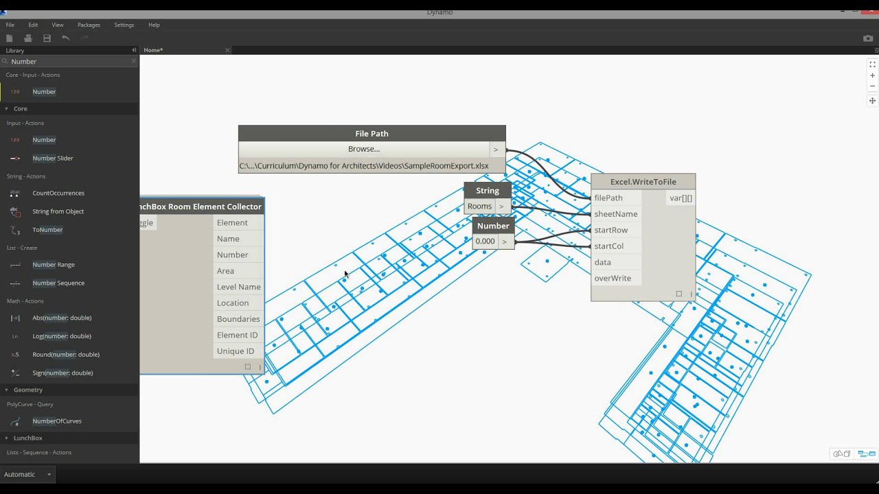 Dynamo And Excel Exporting Room Data From Revit Youtube