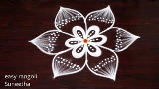 3 dots Friday rangoli & kolam designs by Suneetha || Latest lotus rangoli muggulu