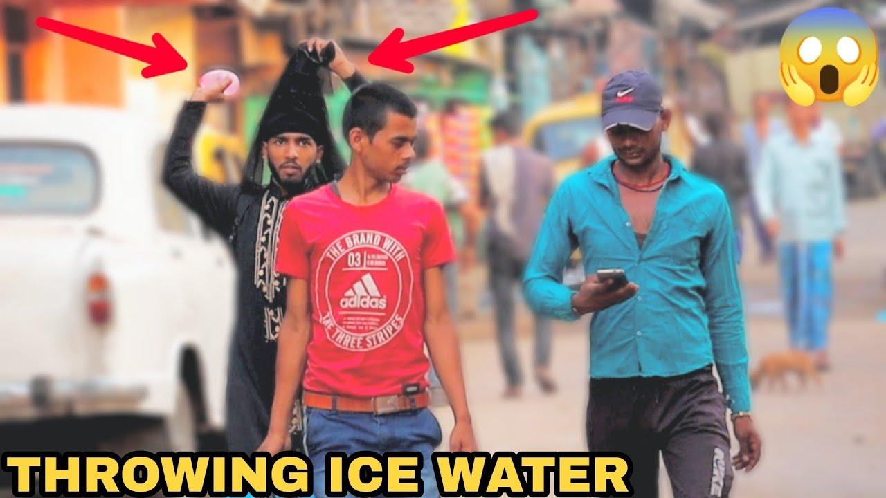 Throwing Ice Water Balloons at People Prank! || MOUZ PRANK