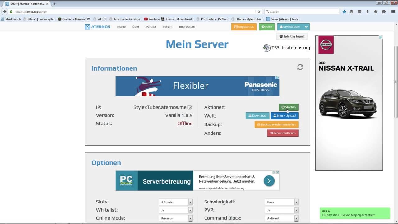Minecraft Server Erstellen KOSTENLOS PremiumCRACKED YouTube - Tutorial minecraft server erstellen kostenlos youtube