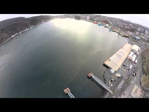 drone footage of St John's Harbour