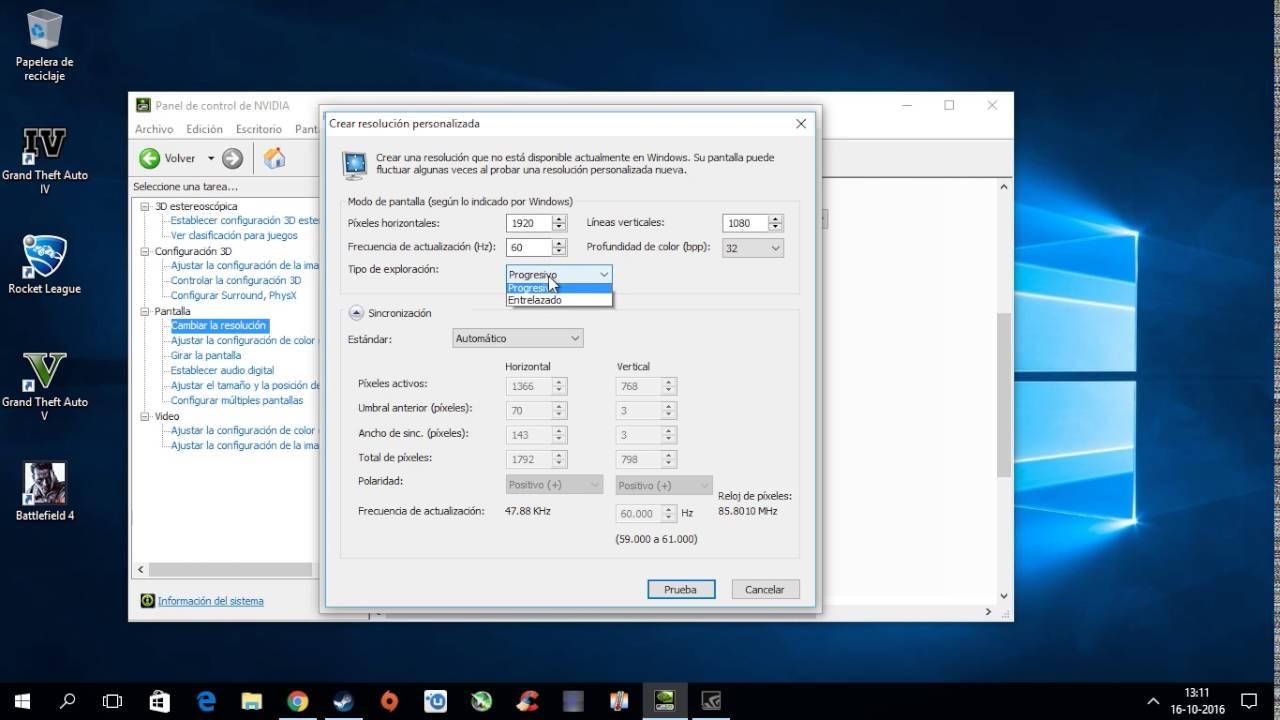 Cambiar resolucion nativa de la pantalla a 1080P con