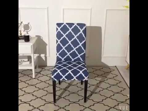 Geometric Pattern Stretch Dining Chair Covers Removable Chair Slipcovers 4 Pcs 6 Pcs Youtube