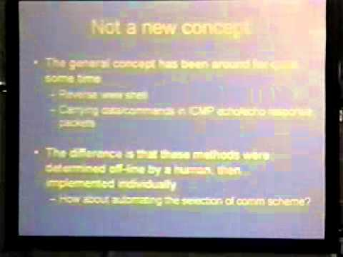 DEF CON 13 - Daniel Burroughs, Auto-adapting Stealth Communication Channels