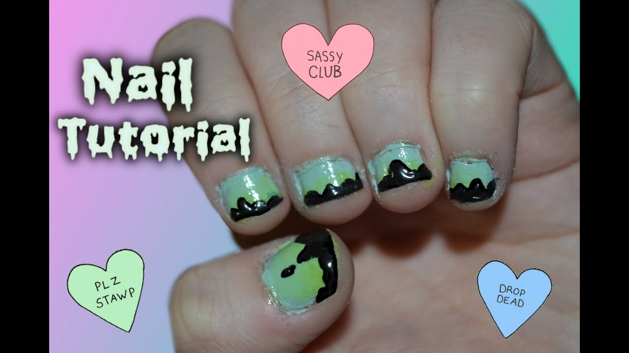 △ Pastel Goth Dripping Nail Tutorial△ † - YouTube