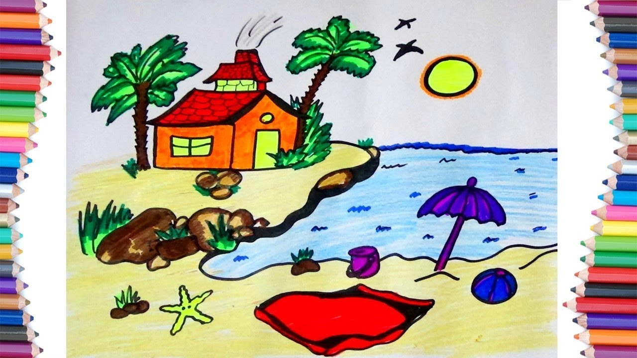 """HOW TO DRAW """" BEACH HOUSE"""" FOR KIDS - YouTube"""