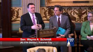 Sen. Schmidt honors John Stephenson at the Michigan Senate