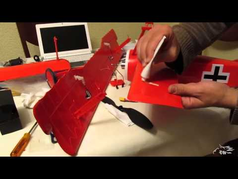 Turnigy electric Fokker DR I 425/17 Triplane - Assembly video manual (+detachable lower wing)