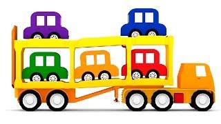 Песенка про 5 машинок. Машинки и автовоз. 3D мультфильм 4 машинки