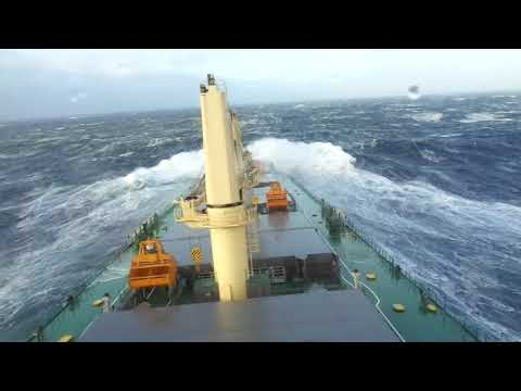 Loaded Bulk carrier in storm riding giant waves  in pacific ocean