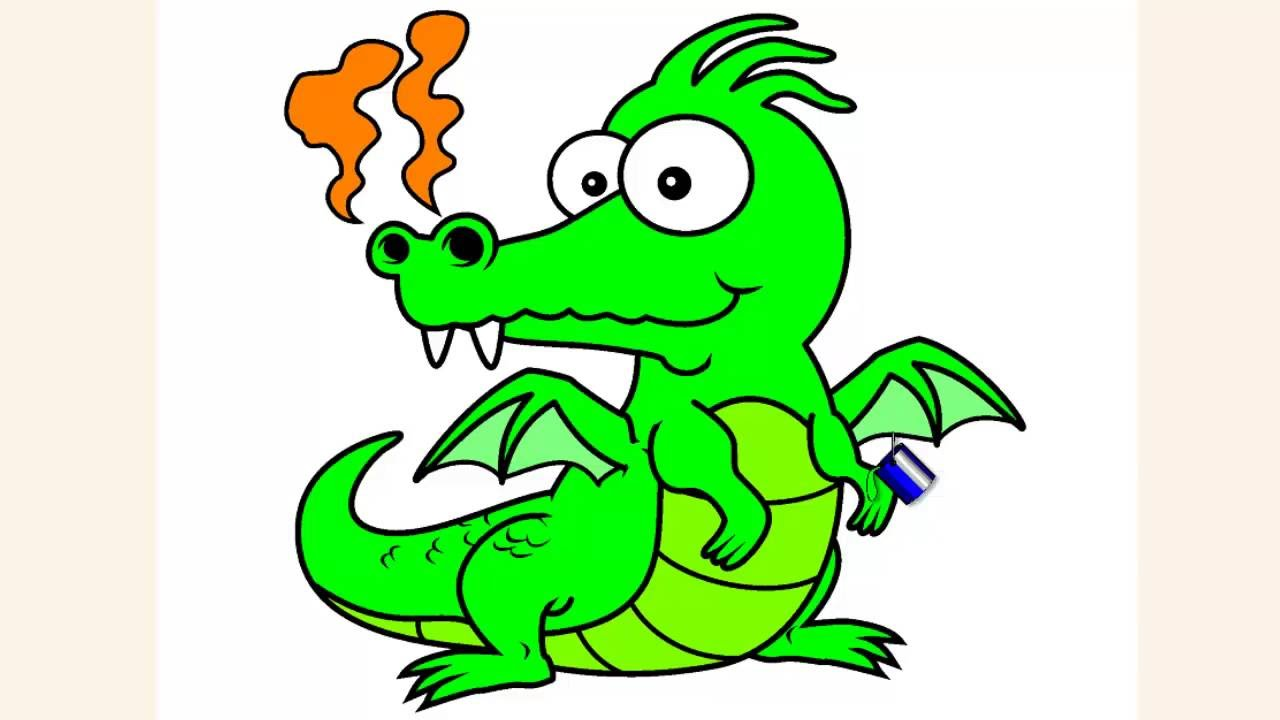 Coloring pages for kids] DINOSAUR coloring pages (Dragon) - YouTube