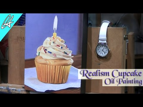 How to paint realistic oil painting of a cupcake with candle