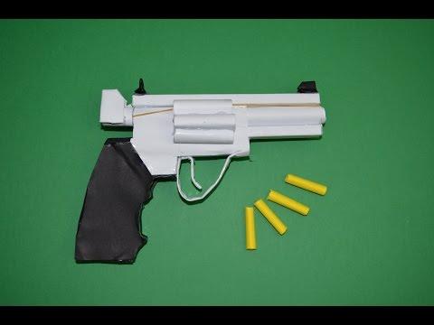 Como hacer Pistola de Papel que Dispare - Revólver  Magnum 357 - juguete de papel