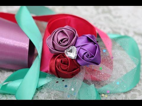 Роза из атласной ленты Мастер класс / DIY Ribbon Rose Tutorial