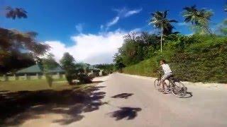 La Digue - Seychelles  by bike - the way to Anse Source d'Argent - West side of La Digue