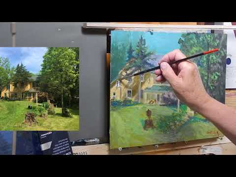 TomFisherArt 81 Redo of Plein Air Oil Painting House Architecture