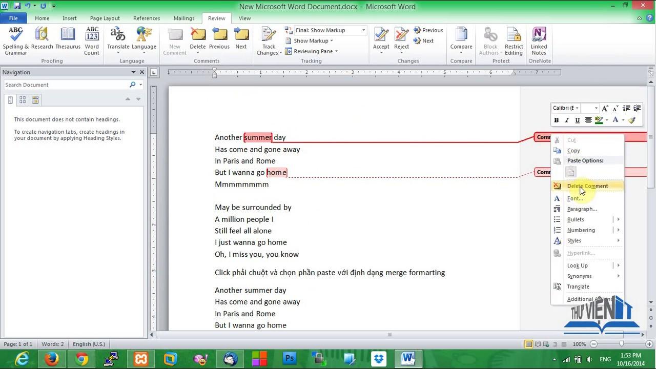 Hướng dẫn tạo chú thích, ghi chú (comment) trong Word