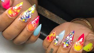 Fun summer stiletto nail tutorial