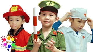 Xavi Pretend Play with Jobs song - Xavi ABCKids helps people
