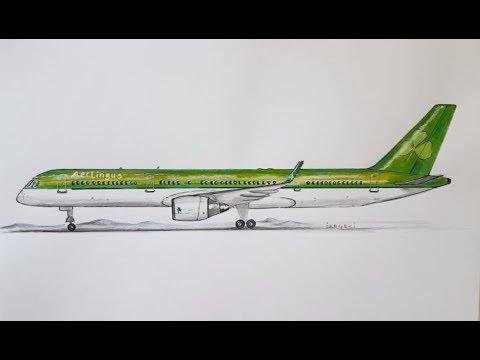 Speed Drawing, Aer Lingus, Boeing 757 200