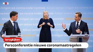TERUGKIJKEN: Persconferentie nieuwe coronamaatregelen; horeca sluit, mondkapjes verplicht