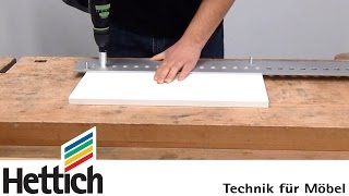 Drilling System 32 hole lines for furniture fittings with Accura jigs made by Hettich