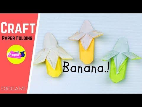 How to Make Paper Fruits Banana Art - 折り紙 バナナ 立体 簡単な折り方