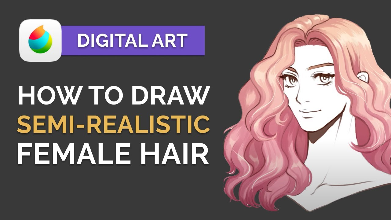 How to Paint Semi-Realistic ANIME HAIR on Girls - Digital Art Tutorial (MEDIBANG)