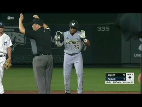 Bryant outfielder Shane Kelly doubles for his first hit vs. Auburn