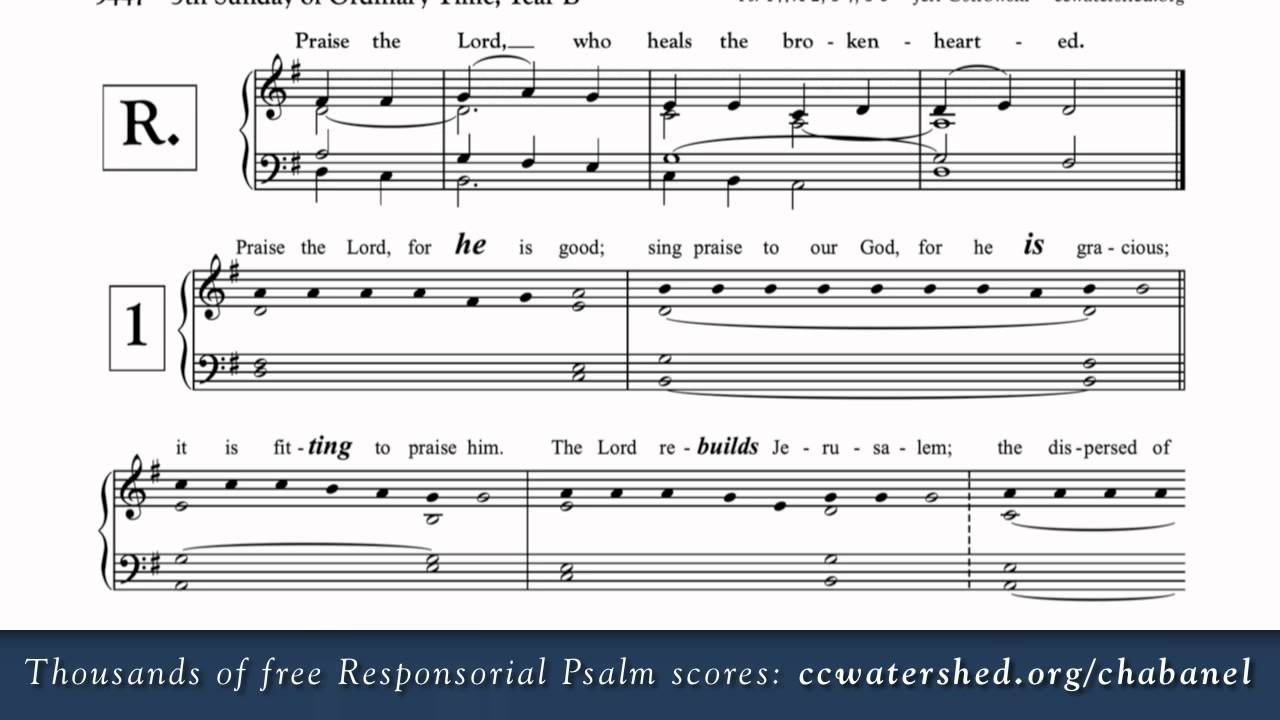 5th Sunday in Ordinary Time (Year B) • Free Responsorial Psalms • Organist  Score