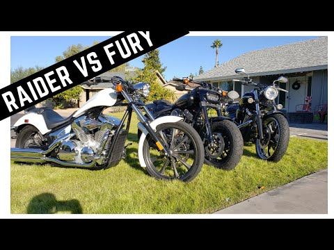 Honda Fury vs. Yamaha Raider! Side By Side Comparison, Ride, Mini Review Manufactured Choppers!