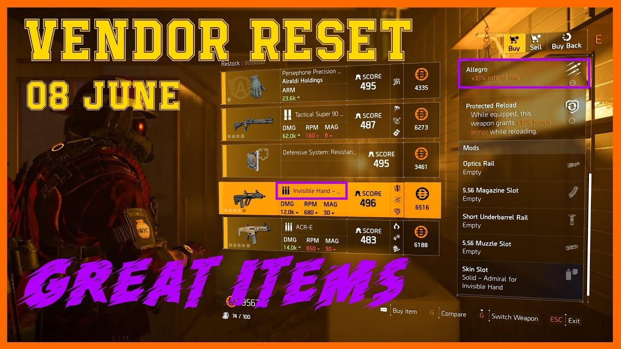 The Division 2 | Weekly Vendor Reset 08 June | God Roll Stats | Secret  Vendor